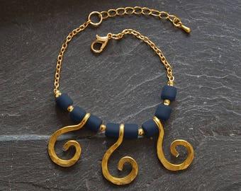 Blue charm bracelet, Gold Statement bracelet, Spiral bracelet, Hammered Tribal bracelet, Personalized, Summer jewelry for women, 1171-17