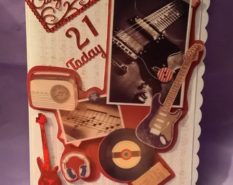 21st congratulations retro music themed card,suitable for all music lovers,eye catching card that I can add a name to if requested