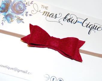Mila Bow hair bow on headband or clip on nylon, crimson headband, hair accessories for baby girl