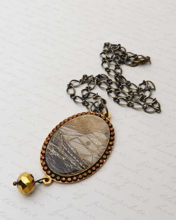 Vintage Sailing Ship Pendant with gilded glass bead JF1070