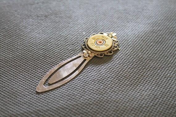 20 Gauge Shotgun Shell Gold Head Bookmark; Shooting Sports Jewelry; Shotgun Shell Jewelry; Shotgun Shell Bookmark