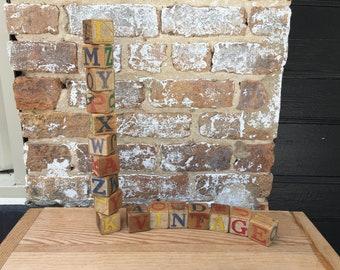 Set of 17 Vintage Toy Wood Blocks