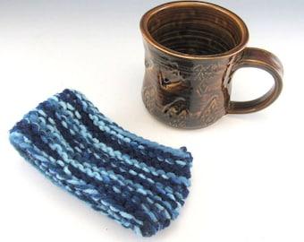 Hand Made Pottery Mug and Yarn Cozy/Sweater/8-10 Ounces