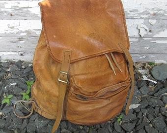 Vintage Golden Brown Leather Hiking Knapsack / Backpack, Norwegian Day Pack, Beckmann Norway