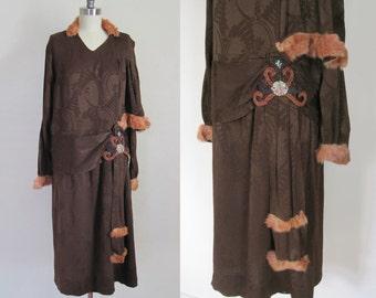 RARE 1920s Dress / Flapper Deco Fur Trim / Japanese Beaded Hip Swag ! INSANE