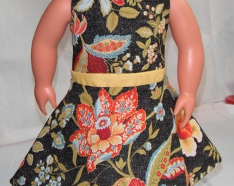 """18"""" Doll Clothes pretty floral print sleeveless dress w/ yellow midriff and invisible Back Zipper"""