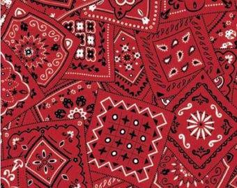 Red bandana fabric, red and white bandana  fabric Free Domestic Ship over 50