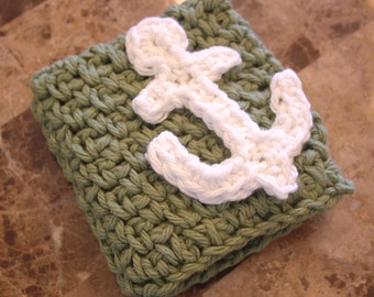 Sage Green Crocheted Dish Cloth with White Anchor Applique (Wash Cloth)