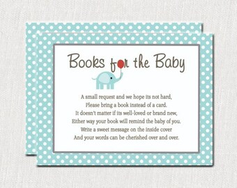 Blue Baby Elephant Bring a Book, Baby Shower Bring Book Instead of Card Insert, Elephant Baby Shower, Little Peanut Invitation 1006-A
