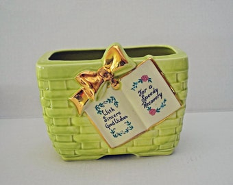 Vintage Ceramic Basket Weave Planter by Marietta Pottery Co. Ohio - With Sincere Good Wishes For a Speedy Recovery