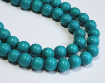 Turquoise Blue wood beads round 12mm full strand eco-friendly Cheesewood 9484NB