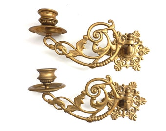 Piano Sconses, Candle Holders, Pair Antique Solid Brass Victorian Piano Candelabra, Piano Candle holder Candle wall sconce. #64AGA5AK9