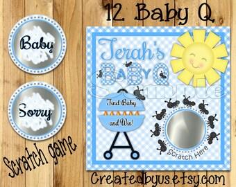 BBQ scratch off cards BabyQ shower Game Boy Baby Q Baby shower Scratch off game Favors Scratch tags Baby shower game ideas 12 Precut