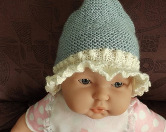 3 - 6 months blue and white cloche Hat