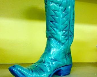 Teal western boot vase