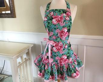 Cute Pink Poppy Apron ~READY TO SHIP   Josie Style ~  Women's Apron ~ 4RetroSisters