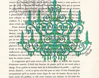Ocean Drive Chandi, Chandelier, original art, printed on a vintage book page from 1887