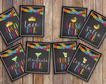 Fiesta Party Printable Collection, Party Mexican Fiesta Taco Salsa Margarita Tequila Bar