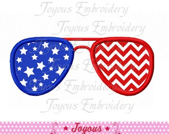 Instant Download 4th Of July Flag Glasses Applique Embroidery Design NO:2353