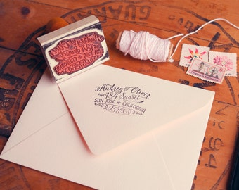 "Calligraphy Inspired Return Address Stamp, Hand Drawn Stamp for Wedding Invitations and Save the Dates, 2.5"" x 1.5"", Audrey"