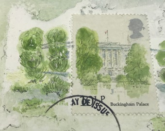 Buckinham Palace, royal family aceo, london ACEO, original art aceo, architectural art trading card, english doll house art, miniture art,