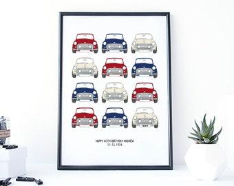 Classic Mini Cooper Car Print - mini print - car poster - print for men - fathers day gift - mini cooper gift - gift for boys - car gift