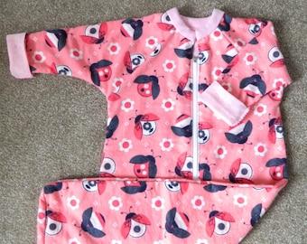 Pink Ladybugs Long Sleeved Flannelette Sleep Sack/Sleeping Bag