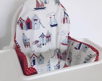 Cushion cover for Antilop IKEA highchair - cushion cover only - nautical beach hut sea high chair cushion cover - gender neutral klammig