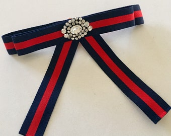 Navy Blue and Red - Gucci Inspired Bowtie