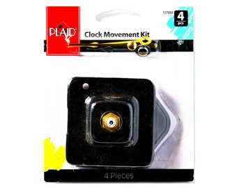 CLOCK MOVEMENT Kit 12766E 4 piece Quartz operated movement (battery not included) 1 Hour 1 Minute 1 Second Hand takes AA  Battery 9A3D