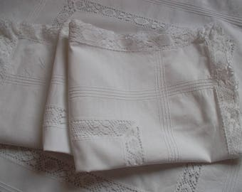 2 pillowcases with beautiful entredeux and lace