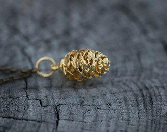 Gold-Dipped Pine Cone Necklace
