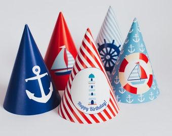 Nautical happy birthday party hats, sailor boys party, party paper decoration, Birthday Party Package, printables, printing party decor