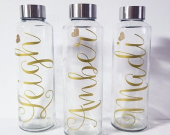 Glass Water Bottle, Personalized Monogram 16 ounces, Bridesmaid Gift, Bridesmaid Water Bottles, Wedding Waterbottles
