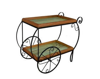 "Rustic ""Ink"" Bar Cart - Reclaimed Wood"