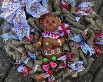Burlap Gingerbread wreath