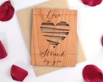Valentine's Day Love Card with Heart - Real Mini Wood Card - Valentines Day Card - Valentine Heart - Lovestruck