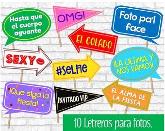 Letreros para fotos. Spanish photo booth props. Carteles para selfie. Letreros divertidos para fiesta en español. Letreros listos para usar.