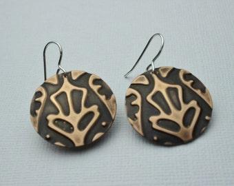 Handmade earrings, Embossed copper, copper earrings mixed metal earrings, unique handmade jewelry, sterling silver, unique design