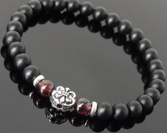 Men's Women Matte Black Onyx Garnet 925 Sterling Silver Bracelet Fleur de Lis DiyNotion Handmade BR667