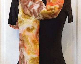 Coral Brown Gold Handpainted Silk Scarf, 14x69 inches, Painted Silk Scarf, Abstract Scarf, Large Silk Scarf, Gift For Mom, Gift for Woman