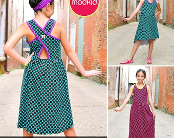 Malibu Cross-Back Dress PDF Downloadable Pattern by MODKID... sizes 2T to 12 Girls included - Instant Download