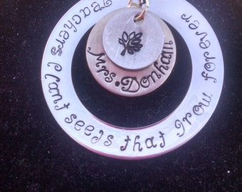 """Personalized Teacher Necklace ~ """"Teachers plant seeds that grow forever"""" ~ Teacher Appreciation, Teacher end of the year gift"""