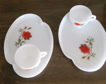 Rosecrest Milk Glass Snack Plates & Cups 1970 Heat Proof Dura White Federal Glass Co