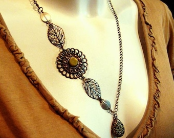 copper flower with leaves and locket asymmetric necklace