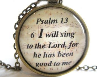 Bible Verse Necklace - I Will Sing To The Lord Scripture Necklace - Bible Verse Psalm 13:6 - Gift Box Included
