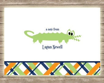 Kids Stationary - Gator and Plaid Modern and Preppy Thank You Notecard - Set of 20