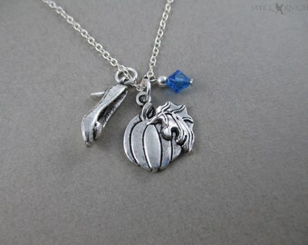 CLEARANCE - Cinderella Shoe and Pumpkin Charm Necklace - Silver Charms