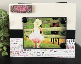 Pink Cowgirl V2 - Magnetic Picture Frame Handmade Gift Present Home Decor by Frame A Memory Size 9 x 11 Holds 5 x 7 Photo - Country Girl