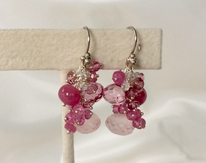 Rose Quartz Gemstone Earrings in Sterling Silver with Raspberry Pink Sapphire, Mystic Pink Quartz, Mystic Pink Topaz - Pink Gemstones